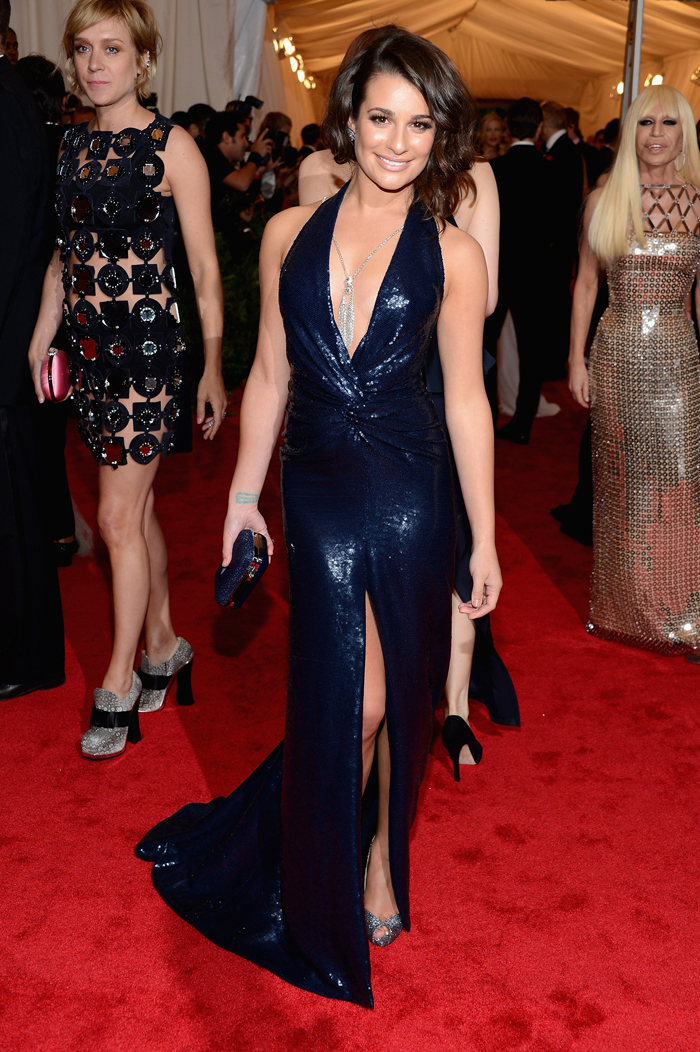 In Diane von Furstenberg blue sequined