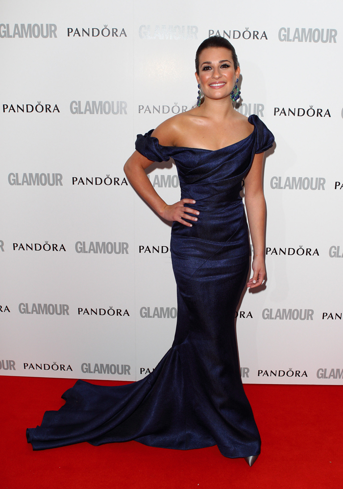 In Zac Posen dark-blue...