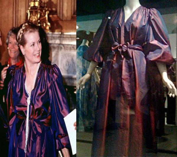 Grace Kelly fasciata nel brillante purlple-dress durante lo storico incontro con Lady D.