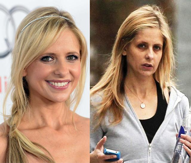 Sarah Michelle Gellar senza fondotinta ne gloss ricorda quei demoni a cui da la caccia l'ater ego Buffy.