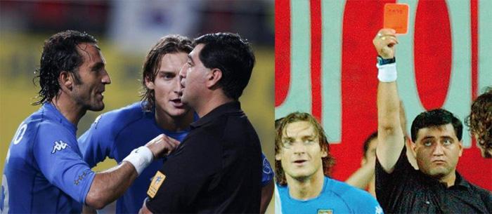 2002 L'espulsione di Totti dai campionati di Corea-Giappone, per scorretta mano di Byron Moreno che sventola insistente il cartellino rosso.