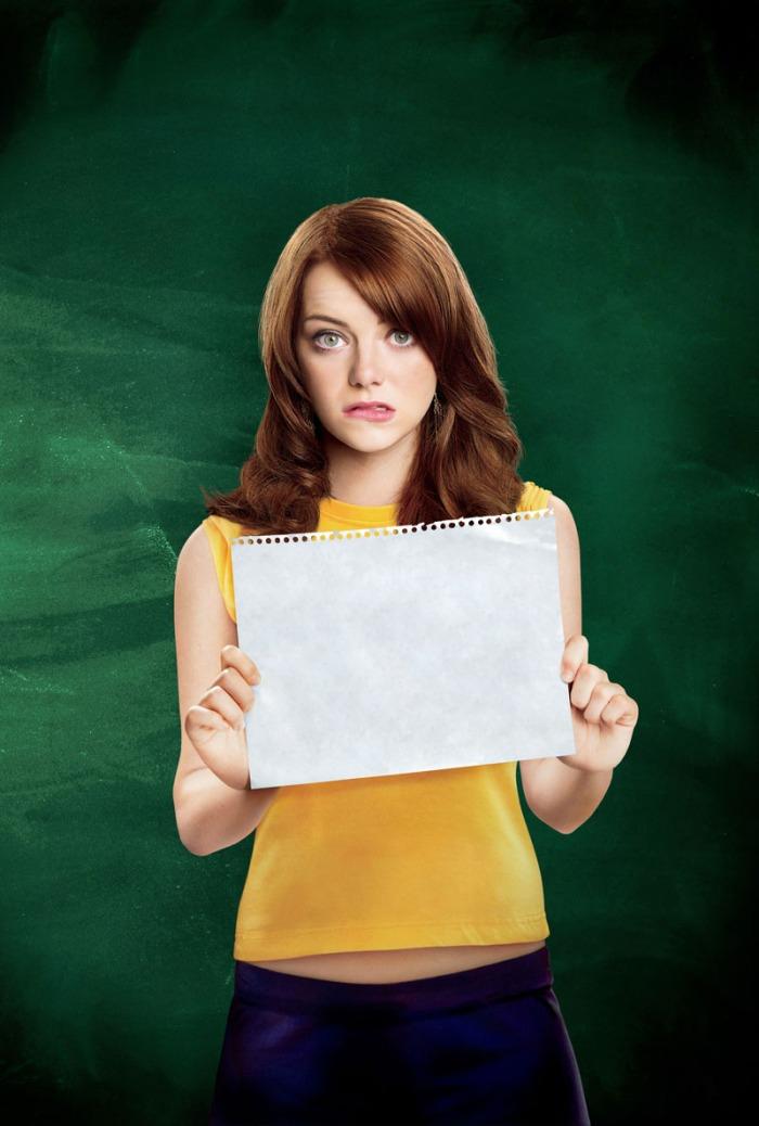 La t-shirt smanicata della scostumata  Emma Stone in Easy Girl (2011)