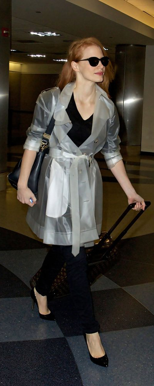 Jessica Chastain in plastic trench