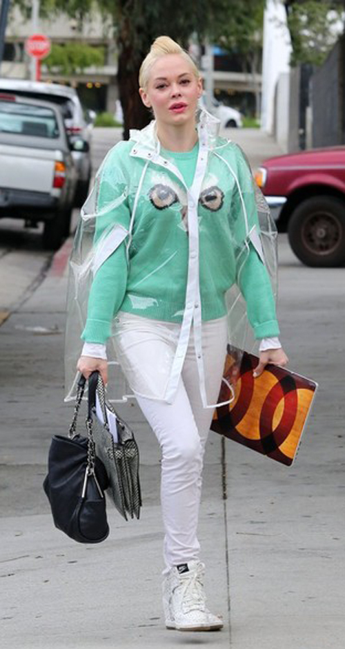 Rose McGowan in raincoat trasparente