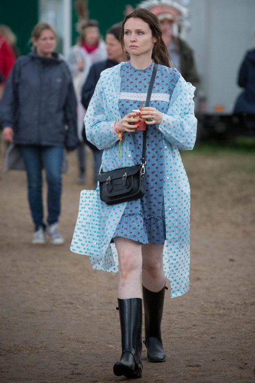 Sophie Ellies Bextor in polka raincoat