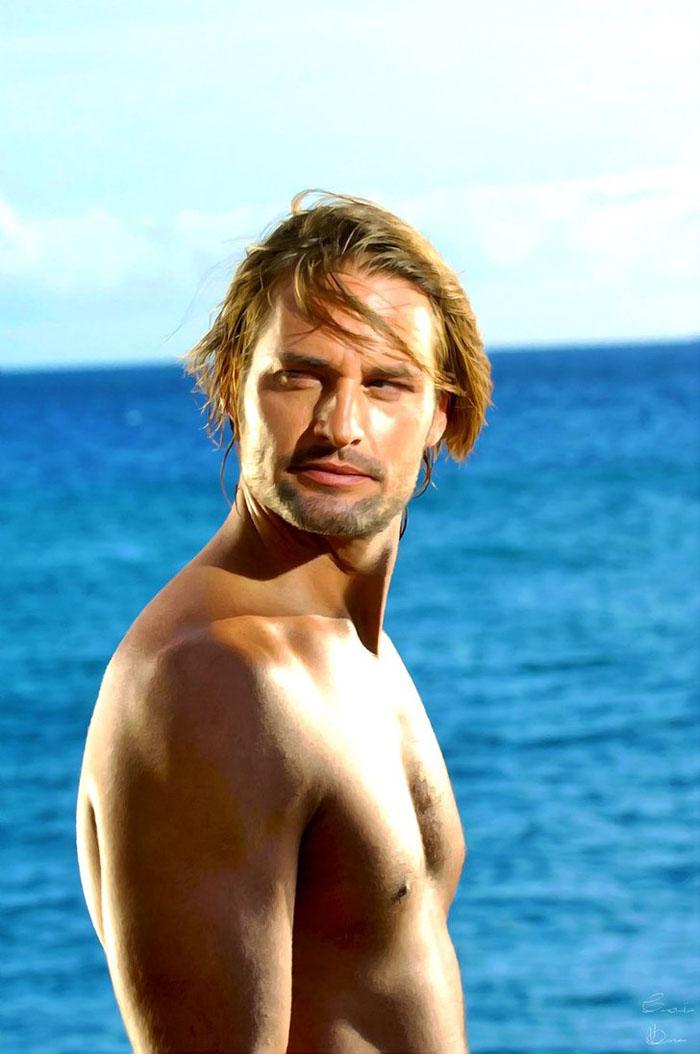 L'eccitante Sawyer (Josh Holloway) esibisce i madidi bicipiti in Lost