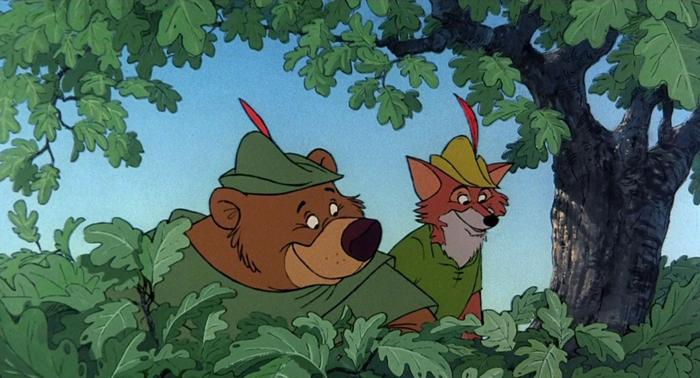 Robin Hood e Little John seminano lo Sceriffo di Nottingham e i suoi scagnozzi nel film d'animazione Disney (1973)
