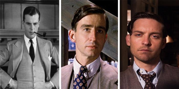 Nick Carraway, il narratore e alter ego di Fitzgerald: Neil Hamilton nel 1926; Sam Waterston nel 1974 e Tobey Maguire nel 2013