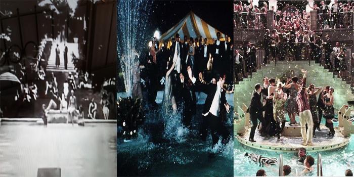 Gli sfarzosi party in piscina nella villa di Gatsby: 1926,1974 e nella vesione  luhrmanniana