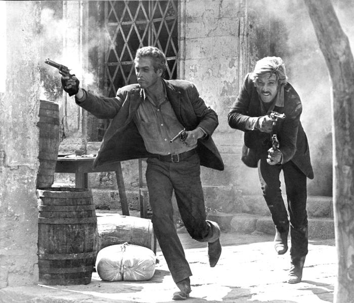 I fuorilegge Butch Cassidy (Paul Newman) e Sundance Kid (Robert Redford) sono braccati  gli uomini dello sceriffo nel Far West (1969)