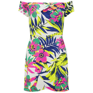 LOVE Women's Tropical Print Scuba Cold Shoulder Dress €25.39 su thehut.com