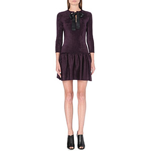 ALEXANDER MCQUEEN Bow-detail chenille dress £1,495.00 su selfridges.com