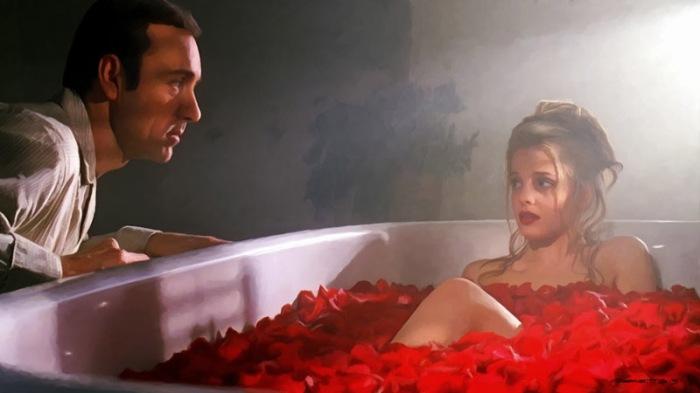 È Lester Burnham in American Beauty: il represso capofamiglia che fantastica sulla ninfetta da liceo Mena Suvari, erotica visione fra lenzuola di petali cermesi.