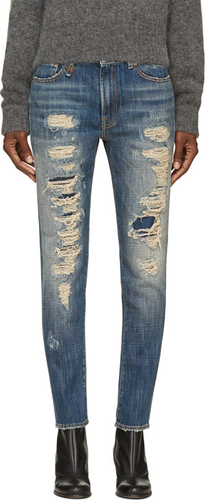 R13 Blue Shredded Slouch Skinny Jeans €385 su ssense.com