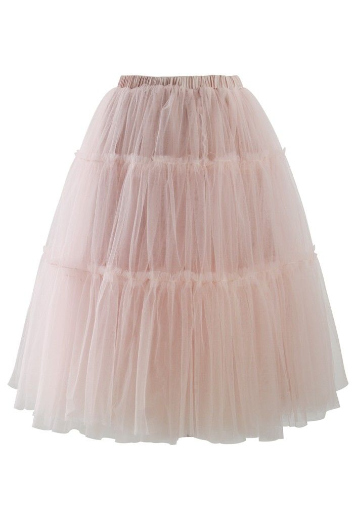 Amore Tulle Midi Skirt in Pink €37.68 su chicwish.com