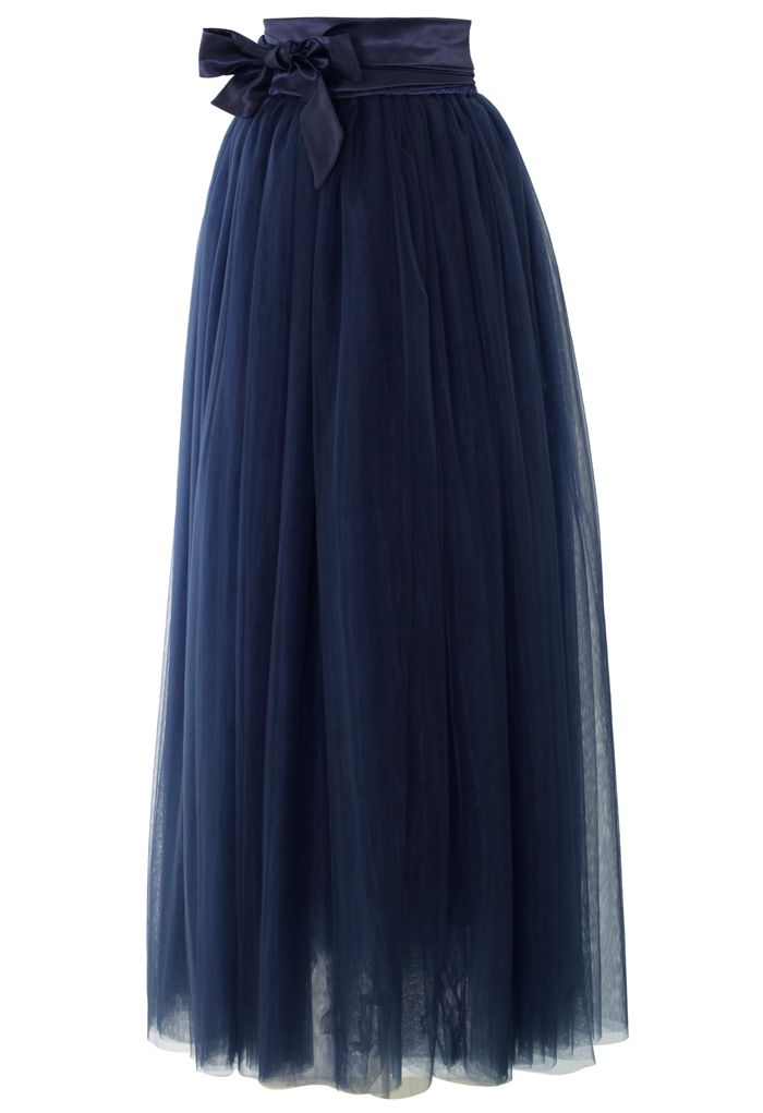 Amore Maxi Tulle Prom Skirt in Navy €43.97 su chicwish.com