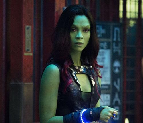 Per il ruolo di Gamora era stata scelta Olivia Wilde ma rifiutò. Zoe Saldana che ha preso il suo posto ha preferito, per interpretare il personaggio, la tecnica del bodypainting piuttosto che essere ripresa in motion capture come per Avatar.