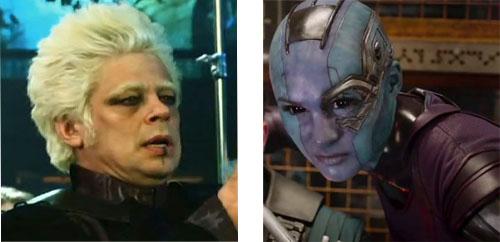 Karen Gillan si è fatta tagliare la sua lunga chioma arrivando addirittura a farsi rasare la testa per interpretare il ruolo di Nebula, mentre Benicio Del Toro ha dovuto tingere di bianco i capelli e le sopracciglia scure per incarnare il Collezionista.