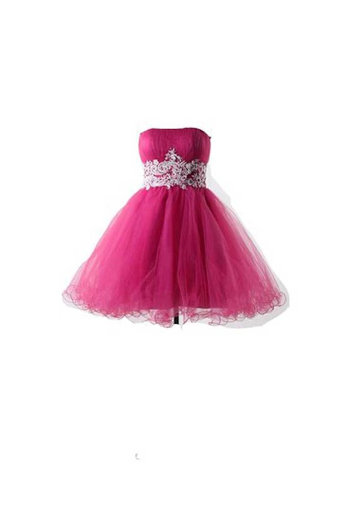 Winey Bridal Hot Pink Short Corset Puffy Strapless Homecoming Dresses €80 amazon.com