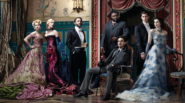 DRACULA -- Season: 1 -- Pictured: (l-r) Katie McGrath as Lucy Westenra, Victoria Smurfit as Lady Jayne Wetherby, Thomas Kretschmann as Abraham Van Helsing, Nonso Anozie as R.M. Renfield, Jonathan Rhys Meyers as Dracula, Alexander Grayson, Vlad Tepes; Oliver Jackson-Cohen as Jonathan Harker, Jessica De Gouw as Mina Murray/Ilona -- (Photo by: Nino Munoz/NBC)