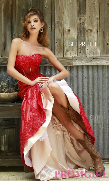 Floor Length Strapless Corset Dress 11243 by Sherri Hill $ 7788.00 su promgirl.com
