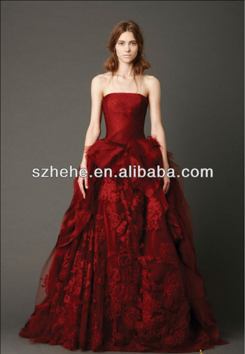 2015New Design Dark Red Embroidery Aline Wedding Dress Bridal Gown $198.00 su aliexpress.com