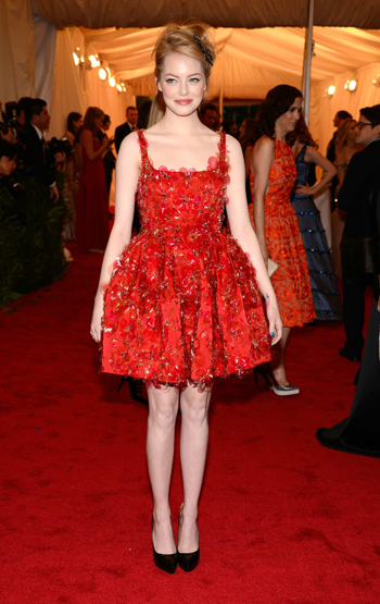 Emma Stone in embroidered crystal flowers by Lanvin