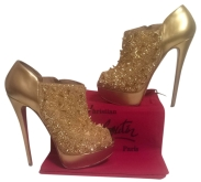 Pre-owned Christian Louboutin Bridge's Back Metallic Platform €840 su polyvore.com