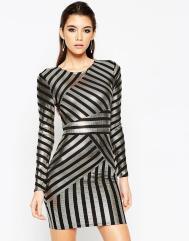 ASOS NIGHT Foil Print Stripe Bodycon Dress €55.88
