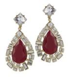 Kenneth Jay Lane Red Opal Teardrop Clip Earring $360.00 su kennethjaylane.com