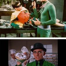 """Nei fumetti, l'Enigmista era un personaggio minore e dimenticabile: alla serie si deve il merito di averlo trasformato in uno dei nemici più acerrimi di Batman. Il completo indossato da Frank Gorshin fu creato, appositamente, per l'attore che detestava infilarsi nella calzamaglia. Per la sua inquietante risata stridula, Gorshin si basò sul gangster """"Tommy Udo"""" (Richard Widmark) nel noir Il bacio della morte (1947)."""