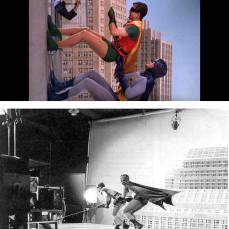 """Uno degli sketch ricorrenti della serie era l'arrampicata di Batman e Robin sugli edifici. Il Dinamico Duo, in realtà, camminava per terra piegato a metà nella parete che era orizzontale. Durante queste scalate, si apriva una finestra da dove sbucava una celebrità dell'epoca, per un totale di 14 cameo: da Ted Cassidy """"Lurch"""" da La famiglia Addams al comico Jerry Lewis fino al crooner Sammy Davis Jr."""