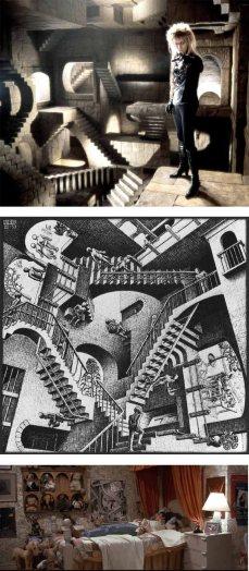 """6- Il castello di Jareth è direttamente ispirato all'opera di MC Escher (dal titolo """"Relatività"""") che si può notare appesa nella stanza di Sarah, all'inizio del film."""