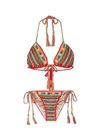 Anna Kosturova 'Ring' stripe crochet triangle bikini set €160 lanecrawford.com