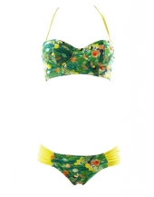 Acqua Bazaar Swimwear Tasco Eden Yellow and Green Tropical Print Balconnette €270 carnetdemode.com