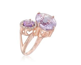Ross-Simons Pink, Purple Amethyst Ring, White Topaz Over Sterling. Size 5, 11.10ct t.w. €115 ross-simons.com