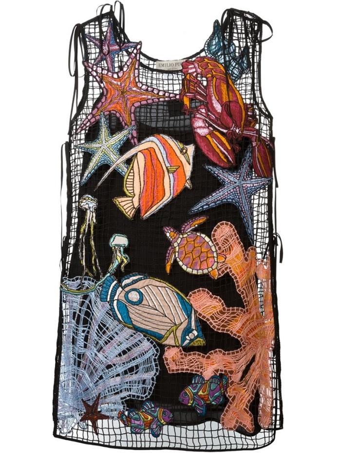 EMILIO PUCCI - SEA EMBROIDERY VISCOSE FISHNET DRESS € 1.100.00 luisaviaroma.com