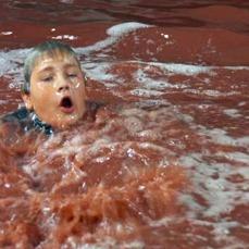 La troupe degli effetti speciali fu costretta a cambiare la formula per il fiume di cioccolato, poiché il primo tentativo di intruglio si tinse di rosso sangue.