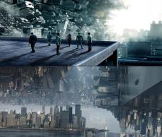 La caleidoscopica dimensione del Dottor Strange pare clonata dai mondi onirici di Inception, diretto da Christopher Nolan nel 2010 (foto sopra).