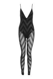 Top Shop Halloween Plunge Glitter Catsuit by Jaded London
