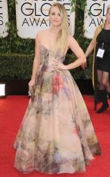 In floral bustier-gown firmato Rani Zakhem ai Golden Globes 2014