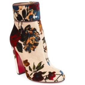 Christian Louboutin Moulamax 85 floral-print velvet ankle boots €790 net-a-porter.com