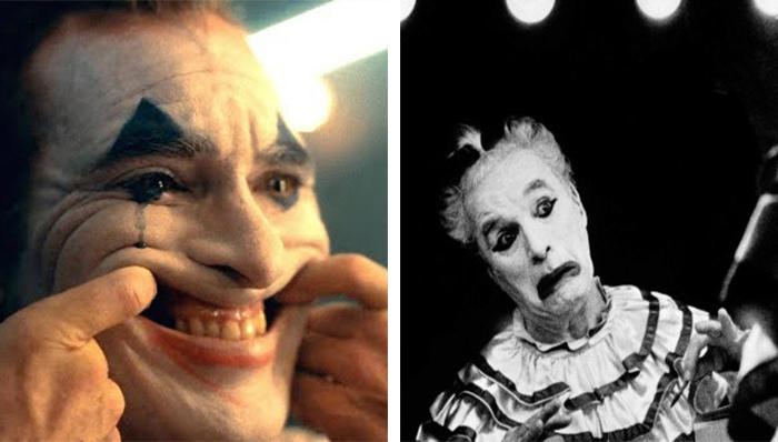 Joaquin Phoenix in Joker (2019) e Charlie Chaplin ne Le Luci della Ribalta (1952)