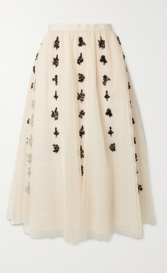 REDValentino Bead-embellished embroidered tulle midi skirt €845 da Net-A-Porter